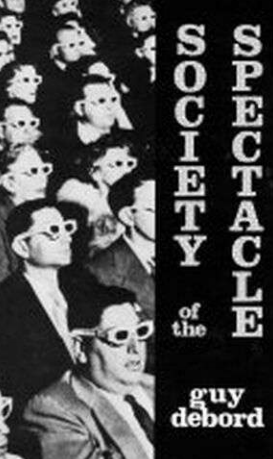 Cover of Debord's Society of the Spectacle, people with 3D glasses on